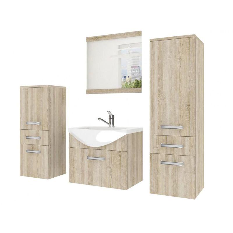 Badmöbel Set 4-tlg LEANO Set.4 Sonoma Eiche matt inkl.Waschtisch 50 cm - FUN MOEBEL