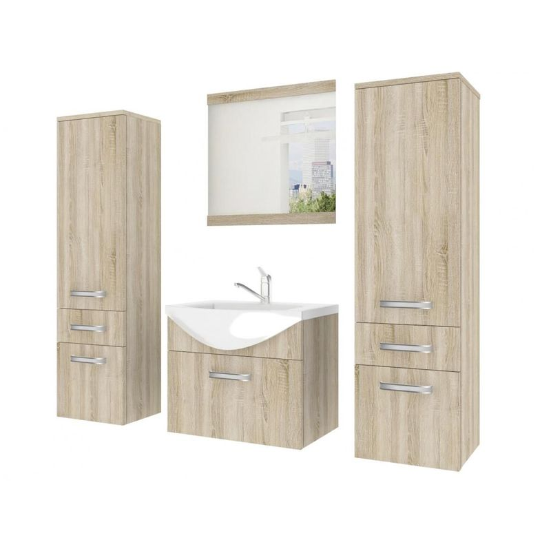 Badmöbel Set 4-tlg LEANO Set.5 Sonoma Eiche matt inkl.Waschtisch 50 cm - FUN MOEBEL