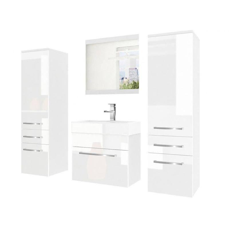 Badmöbel Set 4-tlg MARIO Set.5 Weiß HGL inkl.Waschtisch 50 cm - FUN MOEBEL