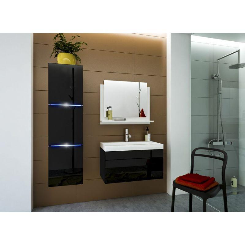 Badmöbel Set 4-Tlg Schwarz HGL DREAM XS inkl.80 cm Waschtisch und LED - FUN-MÖBEL