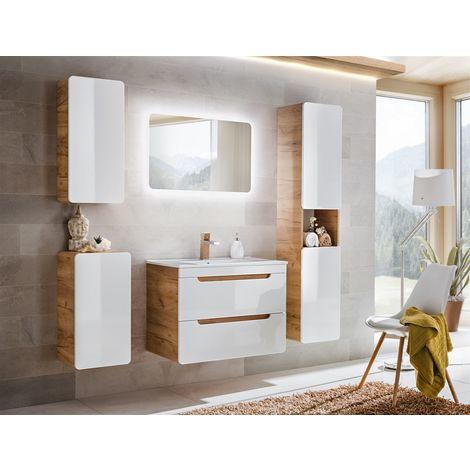 Badmöbel Set 5-tlg Badezimmerset FERMO Weiss HGL inkl.Waschtisch 60cm