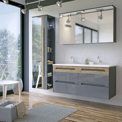 Badmöbel Set 5-tlg Badezimmerset LAXY 2 Grau HGL inkl.Waschtisch 120cm