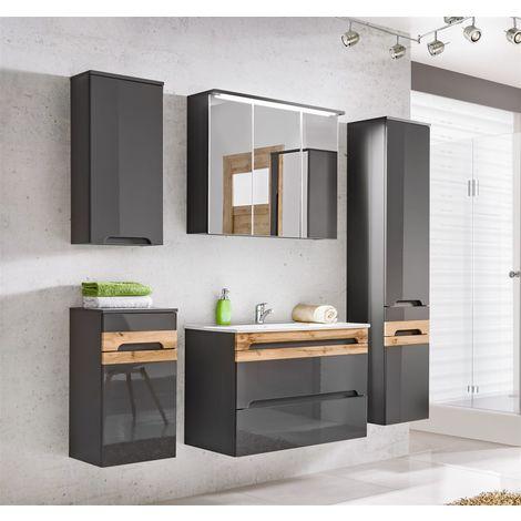 Badmöbel Set 5-tlg Badezimmerset LAXY Grau HGL inkl.Waschtisch 80 cm