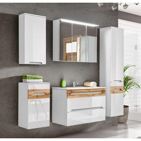 Badmöbel Set 5-tlg Badezimmerset LAXY Weiss HGL inkl.Waschtisch 80 cm
