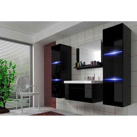 Badmöbel Set 5-Tlg Schwarz HGL DREAM XL inkl.80 cm Waschtisch und LED