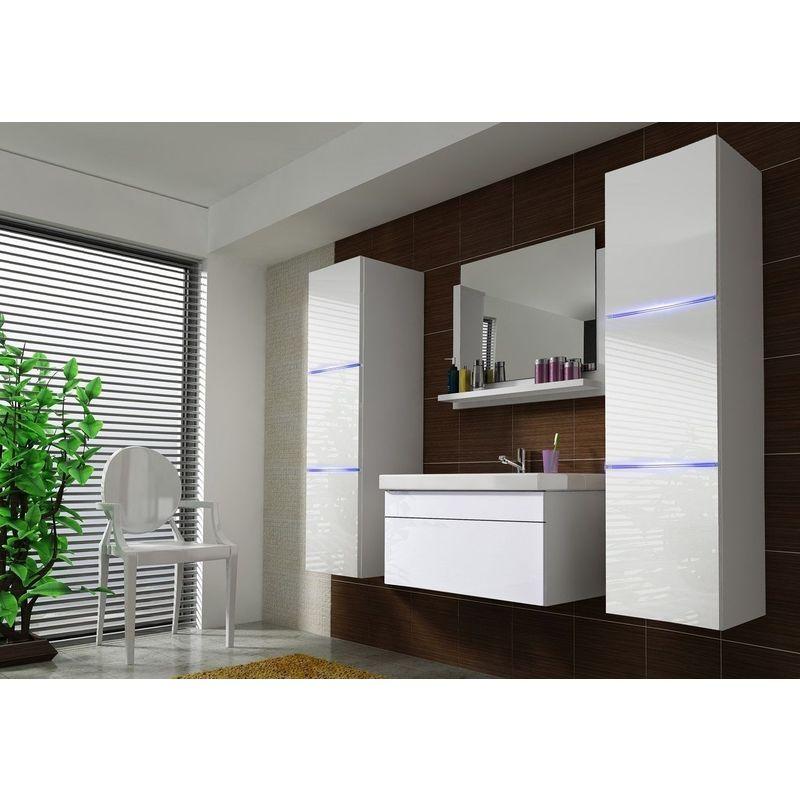 Badmöbel Set 5-Tlg Weiss HGL DREAM XL inkl.80 cm Waschtisch und LED - FUN-MÖBEL