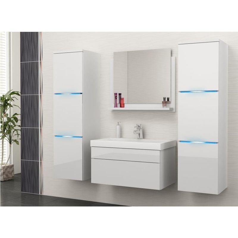 Badmöbel Set 5-Tlg Weiss Hochglanz - Dream- inkl.Waschtisch inkl.LED - FUN-MÖBEL