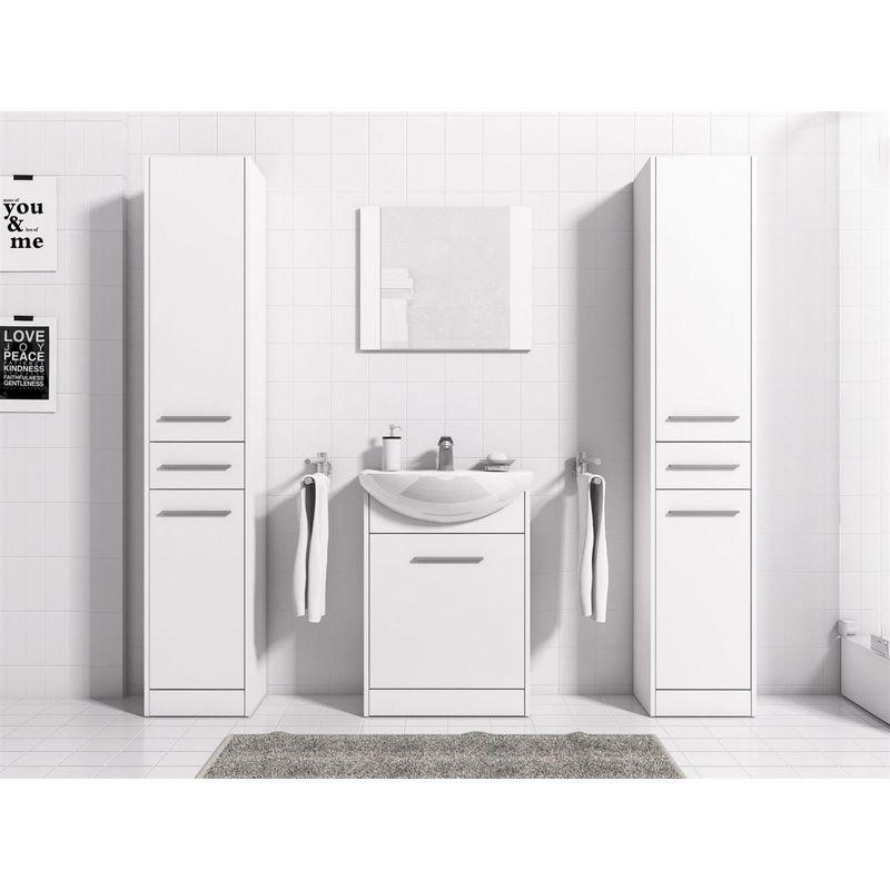 Badmöbel Set 5-Tlg Weiss matt SEVILLA XL inkl.Waschtisch - FUN MOEBEL