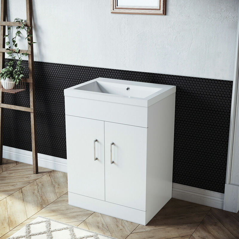 Sonni - Badmöbel Set 60cm Waschbecken mit Unterschrank Weiß Hochglanz Waschtisch