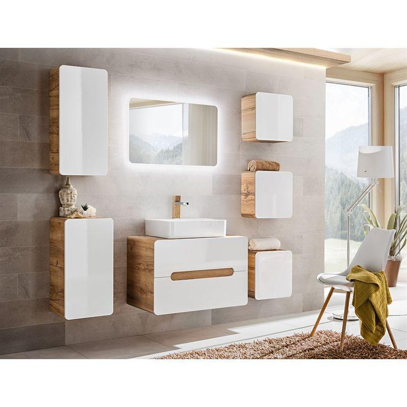 Badmöbel Set 7-tlg Badezimmerset FERMO Weiss HGL ohne Waschtisch - FUN MOEBEL