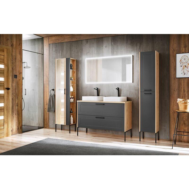 Badmöbel Set 7-tlg Badezimmerset PANTIN Grau inkl. 2 x Waschtisch - FUN MOEBEL