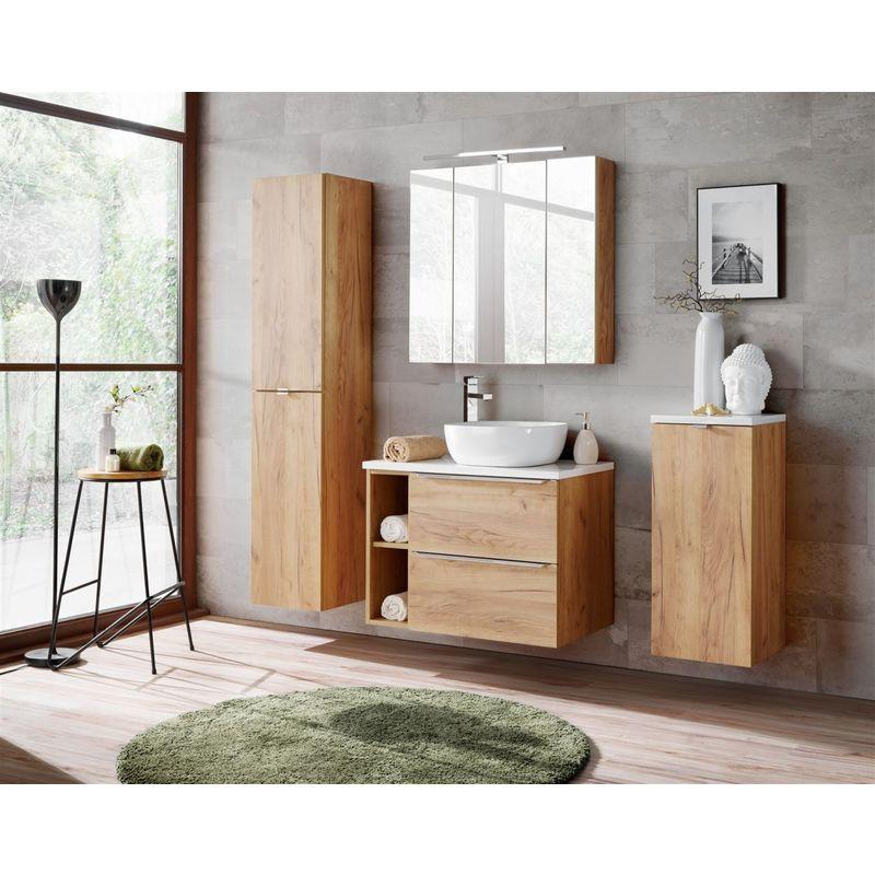 Badmöbel Set 7-tlg Badezimmerset PERUGIA Gold Eiche Set.1 - FUN MOEBEL