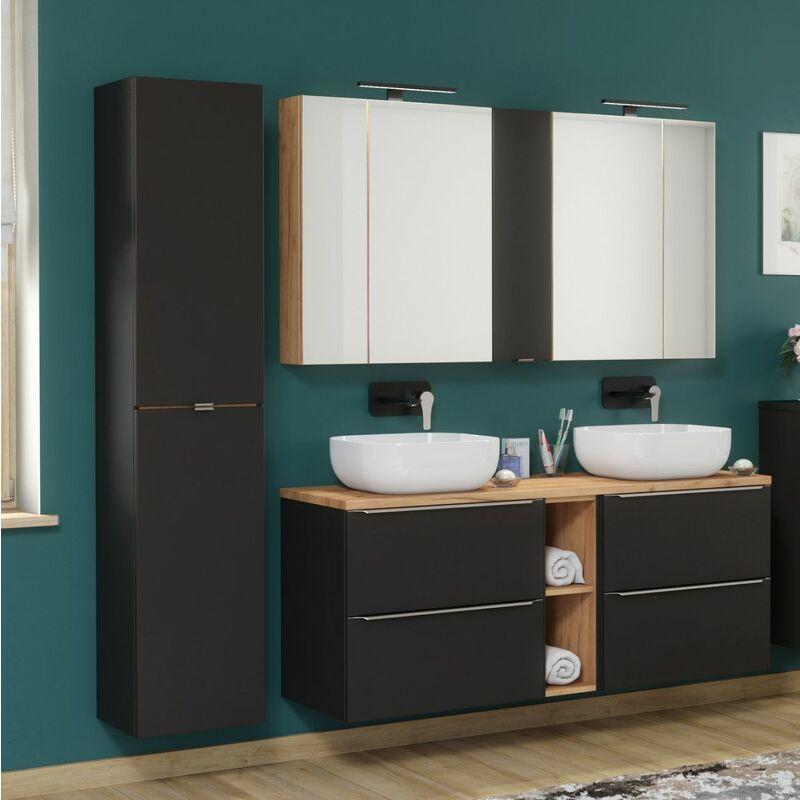 Badmöbel Set 8-tlg Badezimmerset PERUGIA Schwarz ohne Waschbecken - FUN MOEBEL