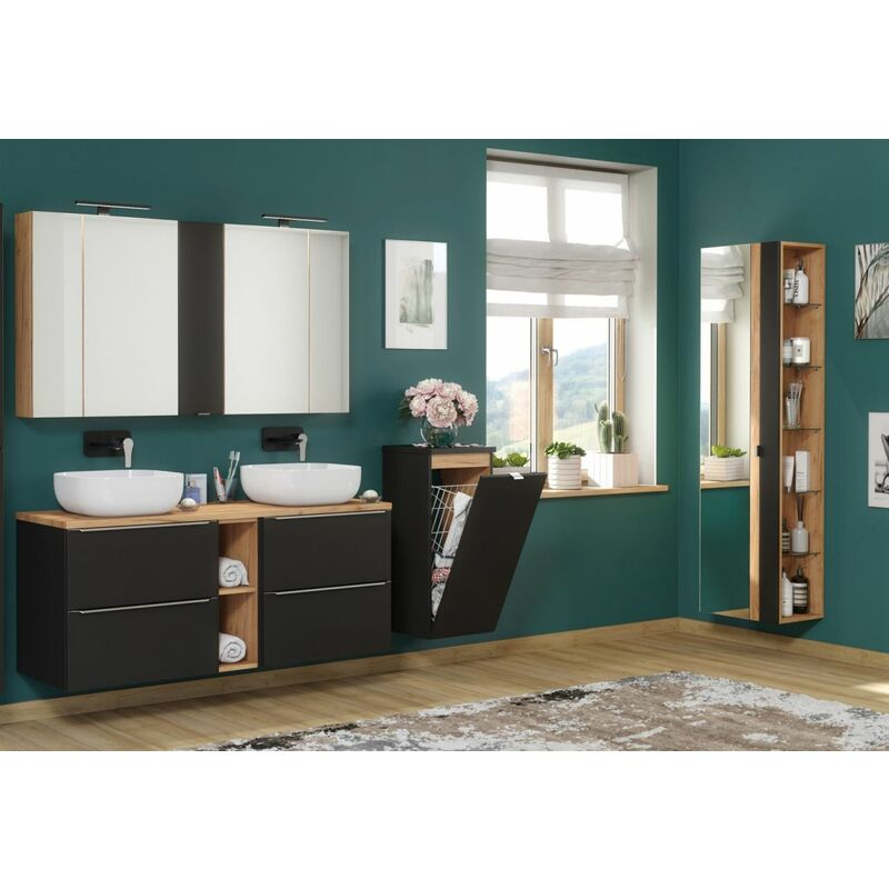 Badmöbel Set 9-tlg Badezimmerset PERUGIA Schwarz ohne Waschbecken - FUN MOEBEL