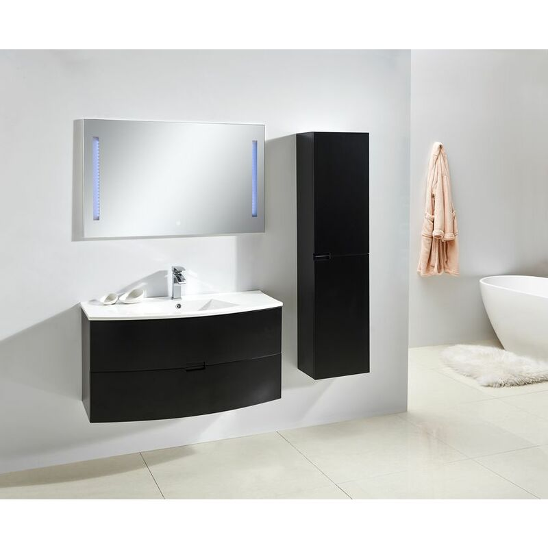 Badmöbel Unterschrank ALBA 100 in schwarz inkl. Waschtisch - Schwarz - GLASDEALS