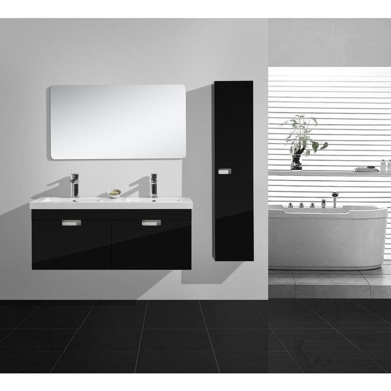 Badmöbel Set Bright120 in hochglanz-schwarz - IMPEX-BAD