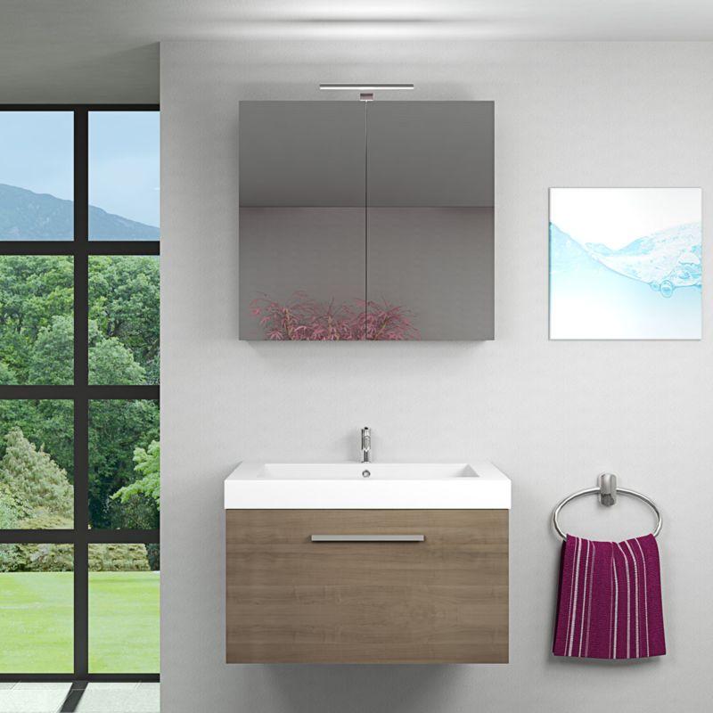 Badmöbel Set City 100 V1 Eiche braun, Badezimmermöbel, Waschtisch 80 cm -14107- ohne Spiegelschrankbeleuchtung - TRENDBAD24 GMBH & CO. KG