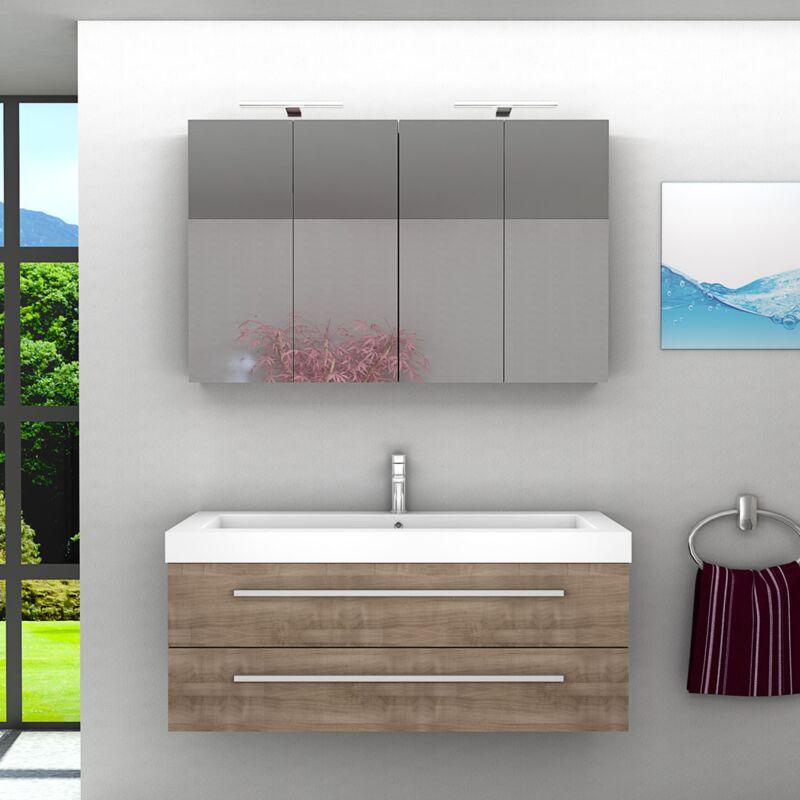 Badmöbel Set City 101 V1 Eiche braun, Badezimmermöbel, Waschtisch 120 cm -14131- ohne Spiegelschrankbeleuchtung - TRENDBAD24 GMBH & CO. KG