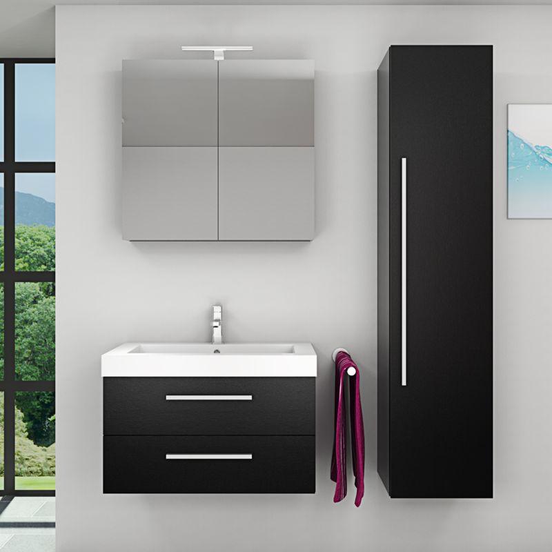Badmöbel Set City 101 V4 Esche schwarz, Badezimmermöbel, Waschtisch 80 cm -16445- mit 1x 5W LED Strahler und 1x Energiebox - TRENDBAD24 GMBH & CO. KG