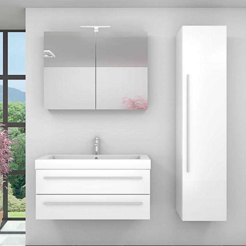 Badmöbel Set City 101 V4 Hochglanz weiß, Badezimmermöbel, Waschtisch 100 cm -17760- mit 1x 5W LED Strahler - TRENDBAD24 GMBH & CO. KG