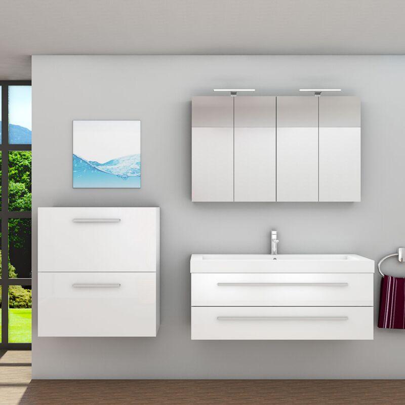 Badmöbel Set City 101 V6 Hochglanz weiß, Badezimmermöbel, Waschtisch 120 cm -16507- mit 1x 5W LED Strahler und 1x Energiebox - TRENDBAD24 GMBH & CO.