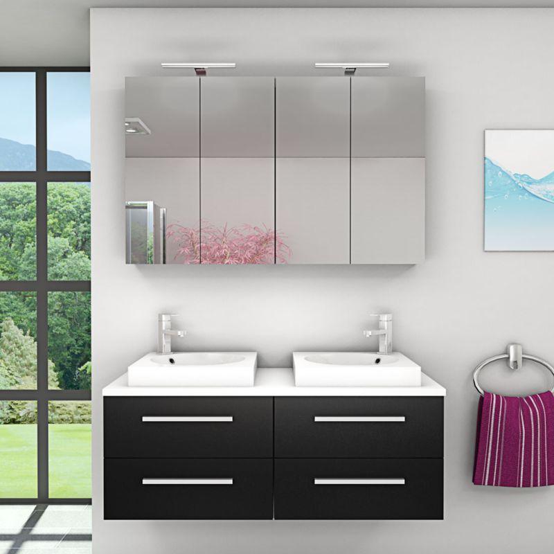 Badmöbel Set City 201 V1 Esche schwarz, Badezimmermöbel, Waschtisch 120 cm -17390- mit 2x 5W LED Strahler und 1x Energiebox - TRENDBAD24 GMBH & CO. KG