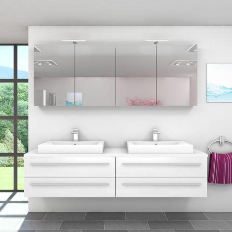 Badmöbel Set City 201 V1 Hochglanz Weiß, Badezimmermöbel, Waschtisch 200cm