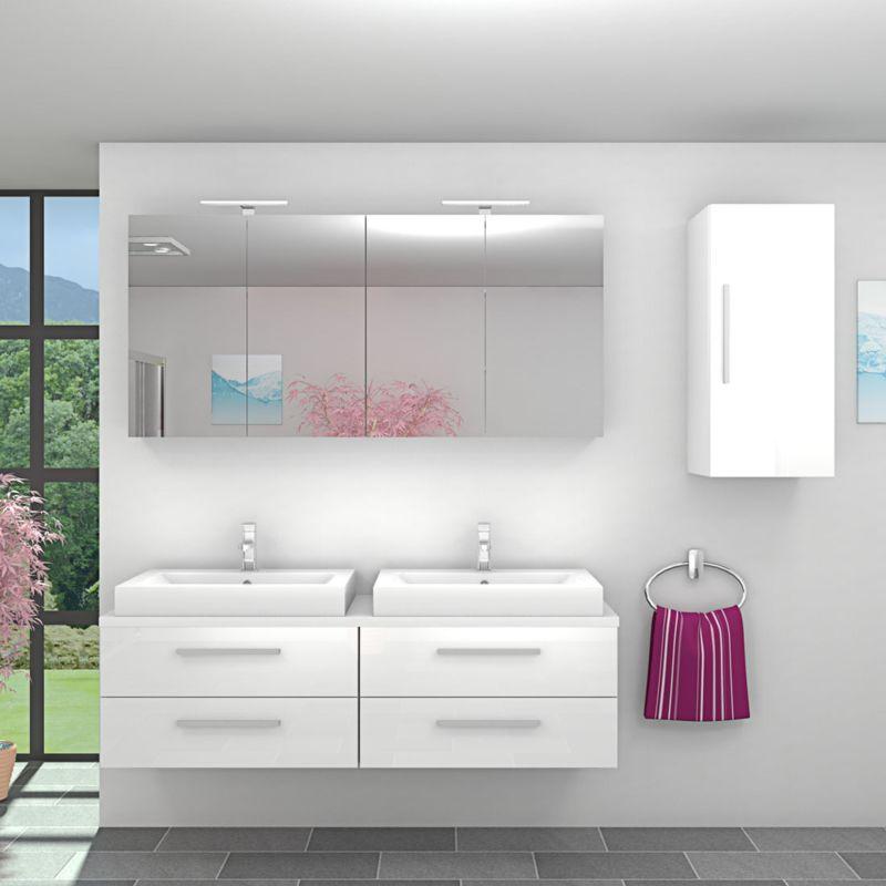 Badmöbel Set City 201 V2 Hochglanz weiß, Badezimmermöbel, Waschtisch 160 cm -20033-001- ohne Spiegelschrankbeleuchtung - TRENDBAD24 GMBH & CO. KG