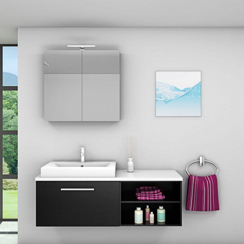 Badmöbel Set City 203 V1 Esche schwarz, Badezimmermöbel, Waschtisch 140 cm -16905- mit 1x 5W LED Strahler und 1x Energiebox - TRENDBAD24 GMBH & CO. KG