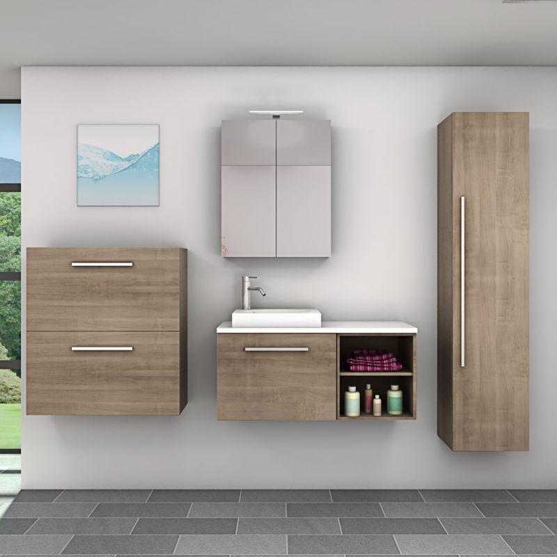 Badmöbel Set City 203 V5 Eiche braun, Badezimmermöbel, Waschtisch 100 cm -17184- mit 1x 5W LED Strahler und 1x Energiebox - TRENDBAD24 GMBH & CO. KG