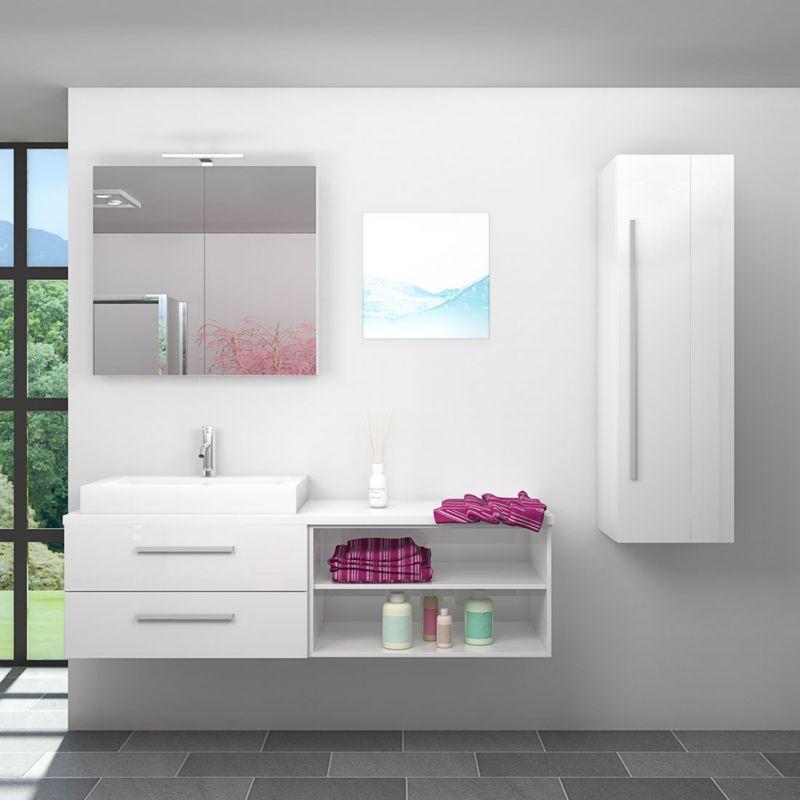 Badmöbel Set City 205 V3 Hochglanz weiß, Badezimmermöbel, Waschtisch 160 cm -20067-003- mit 1x 5W LED Strahler und 1x Energiebox - TRENDBAD24 GMBH &