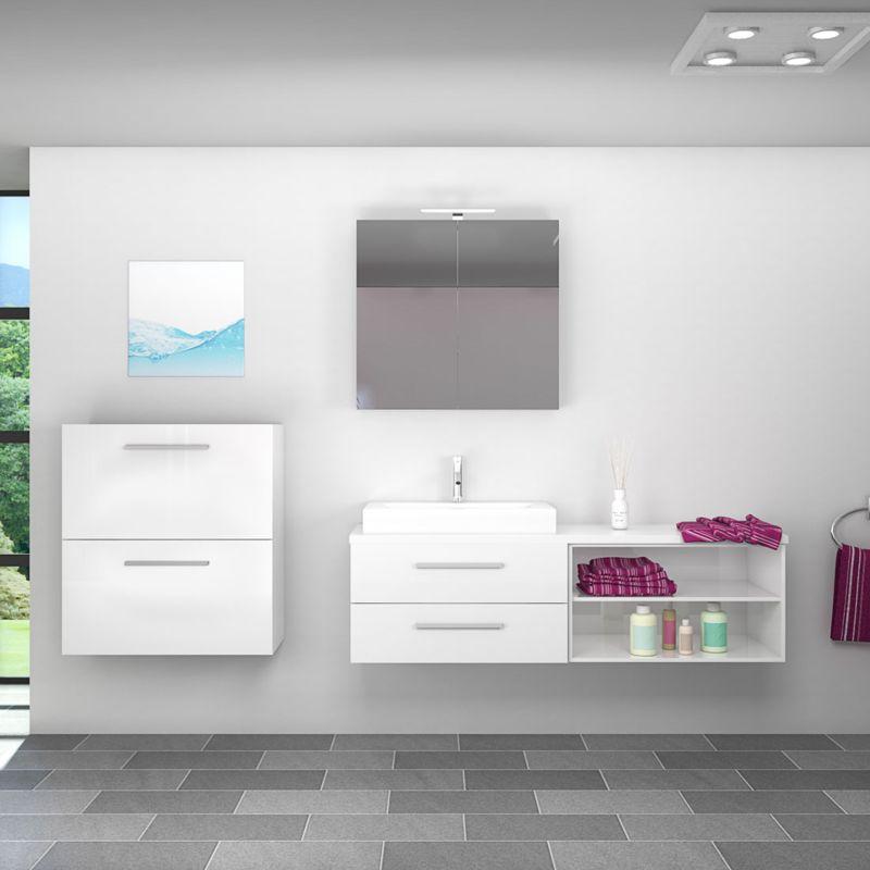 Badmöbel Set City 205 V6 Hochglanz weiß, Badezimmermöbel, Waschtisch 160 cm -20073-003- mit 1x 5W LED Strahler und 1x Energiebox - TRENDBAD24 GMBH &