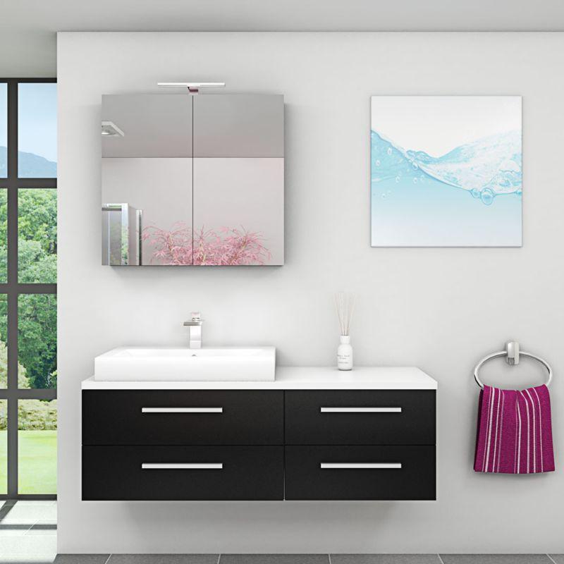 Badmöbel Set City 210 V1 Esche schwarz, Badezimmermöbel, Waschtisch 140cm -16858- ohne Spiegelschrankbeleuchtung - TRENDBAD24 GMBH & CO. KG