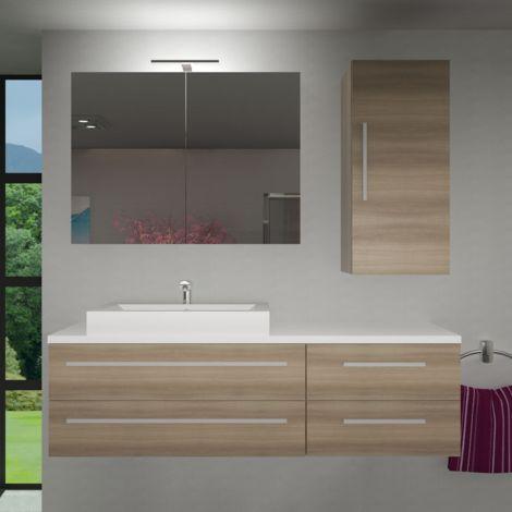 Badmöbel Set City 210 V2 braun Eiche Badezimmermöbel, Waschtisch 160cm