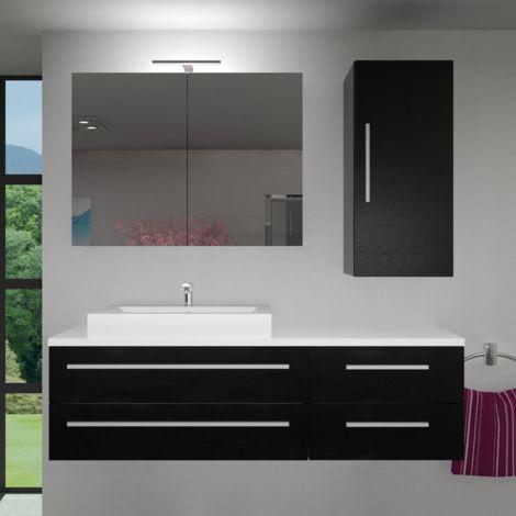 Badmöbel Set City 210 V2 Esche schwarz, Badezimmermöbel, Waschtisch 160cm
