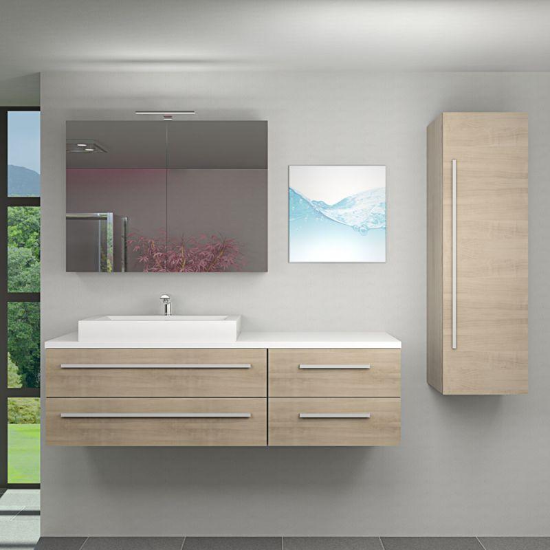 Badmöbel Set City 210 V3 braun Eiche Badezimmermöbel, Waschtisch 160cm -14538- ohne Spiegelschrankbeleuchtung - TRENDBAD24 GMBH & CO. KG