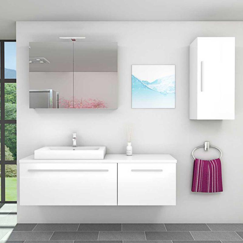 Badmöbel Set City 211 V2 Hochglanz Weiß Badezimmermöbel Waschtisch 160cm -18040- mit 1x 5W LED Strahler und 1x Energiebox - TRENDBAD24 GMBH & CO. KG