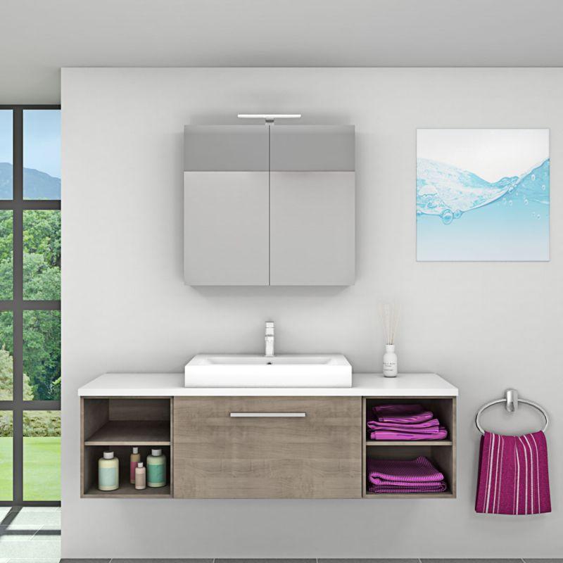 Badmöbel Set City 302 V1 braun Eiche Badezimmermöbel, Waschtisch 160cm -17066- mit 1x 5W LED Strahler - TRENDBAD24 GMBH & CO. KG