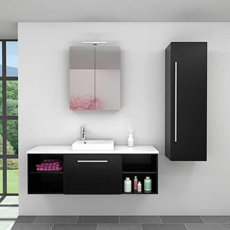 Badmöbel Set City 302 V3 schwarz Esche Badezimmermöbel, Waschtisch 140cm -20110-001- ohne Spiegelschrankbeleuchtung - TRENDBAD24 GMBH & CO. KG