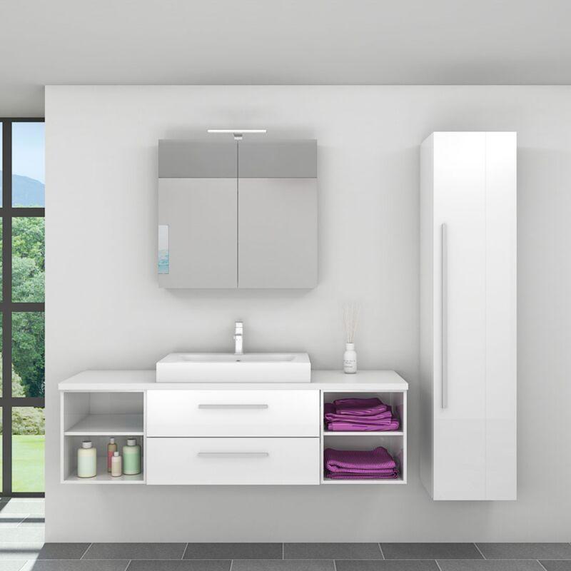 Badmöbel Set City 303 V4 Hochglanz weiß, Badezimmermöbel, Waschtisch 160cm -20153-001- ohne Spiegelschrankbeleuchtung - TRENDBAD24 GMBH & CO. KG