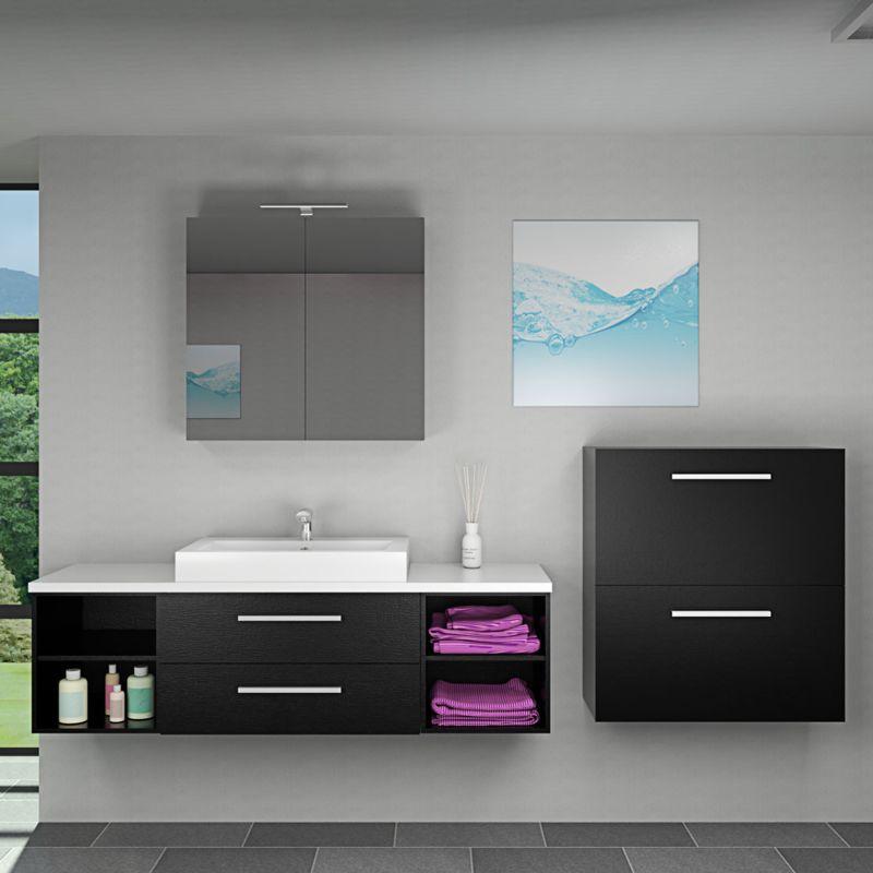 Badmöbel Set City 303 V6 Esche schwarz, Badezimmermöbel, Waschtisch 160cm -15585- ohne Spiegelschrankbeleuchtung - TRENDBAD24 GMBH & CO. KG