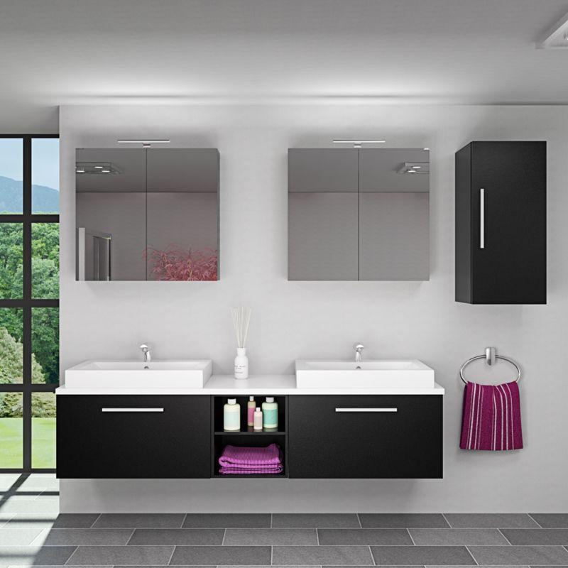 Badmöbel Set City 306 V2 Esche schwarz, Badezimmermöbel, Waschtisch 200cm -15673- mit 2x 5W LED Strahler und 2x Energiebox - TRENDBAD24 GMBH & CO. KG