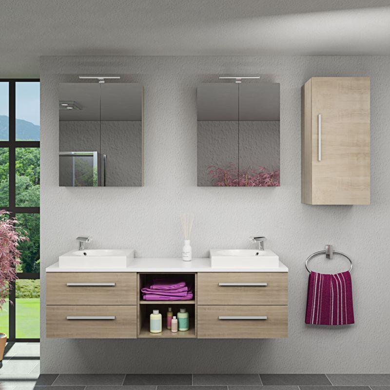 Badmöbel Set City 307 V2 braun Eiche Badezimmermöbel, Waschtisch 160cm -15591- mit 2x 5W LED Strahler und 2x Energiebox - TRENDBAD24 GMBH & CO. KG