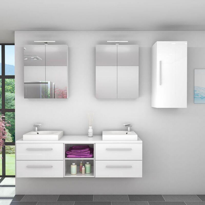 Badmöbel Set City 307 V2 Hochglanz weiß, Badezimmermöbel, Waschtisch 160cm -20160-003- mit 2x 5W LED Strahler und 2x Energiebox - TRENDBAD24 GMBH &