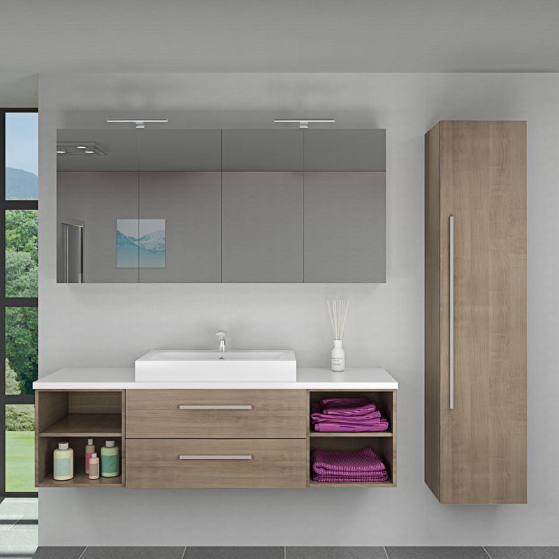 Badmöbel Set City 313 V4 braun Eiche Badezimmermöbel, Waschtisch 160cm -15629- ohne Spiegelschrankbeleuchtung - TRENDBAD24 GMBH & CO. KG
