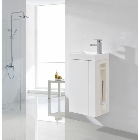 Badmöbel-Set Compact 400 für Gäste-WC - Weiß matt Ohne Ablaufgarnitur -