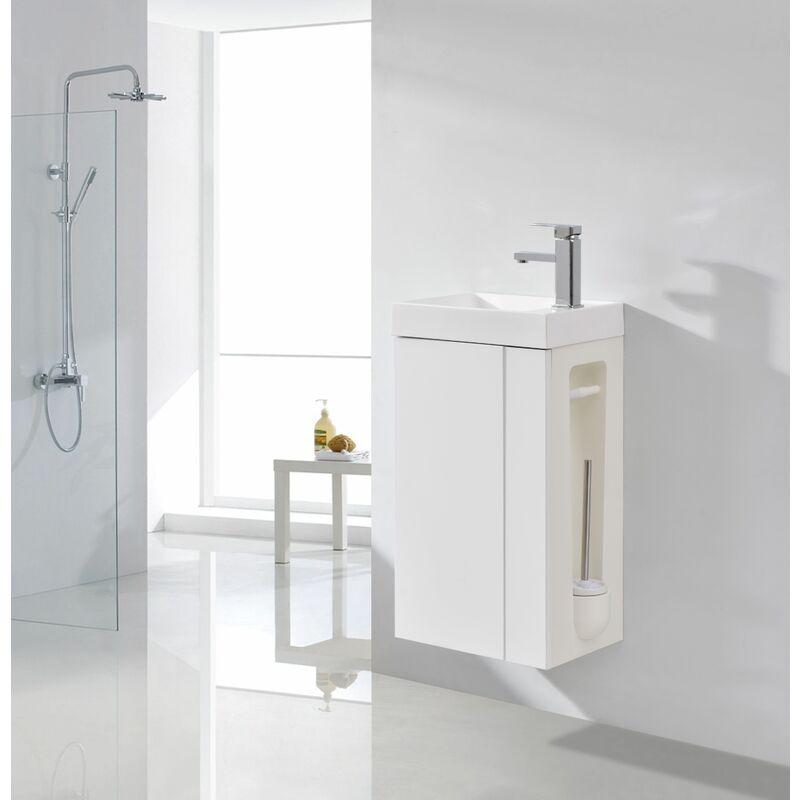 Badmöbel-Set Compact 400 für Gäste-WC - Weiß mattOhne Ablaufgarnitur - BERNSTEIN