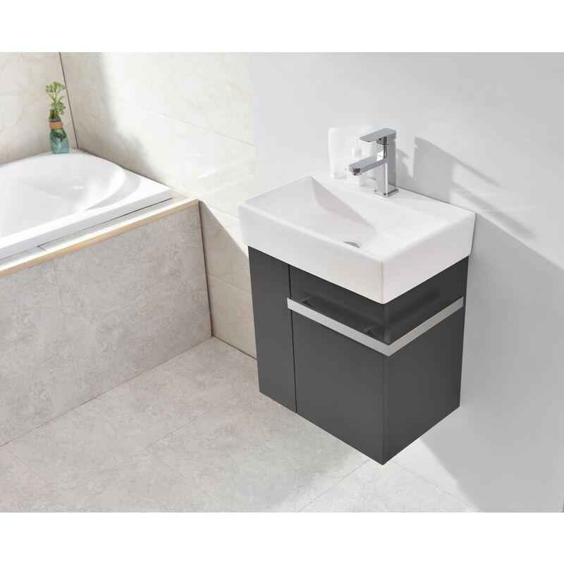 Sehr Badmöbel-Set Compact 500 für Gäste-WC - Anthrazit matt Ohne RE95