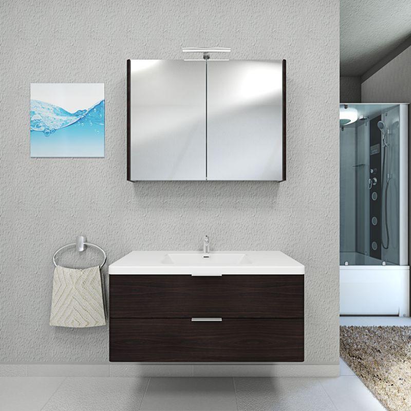 Badmöbel Set Curve 103 V1 MDF Wallnuss, Badezimmermöbel, Waschtisch 100cm -14423- mit 1x 5W LED Strahler und 1x Energiebox - TRENDBAD24 GMBH & CO. KG