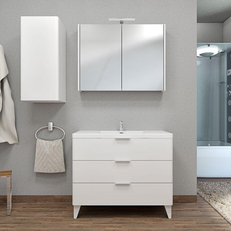 Badmöbel Set Curve 106 V2 MDF weiß, Badezimmermöbel, Waschtisch 100cm -14694- mit 1x 5W LED Strahler und 1x Energiebox - TRENDBAD24 GMBH & CO. KG
